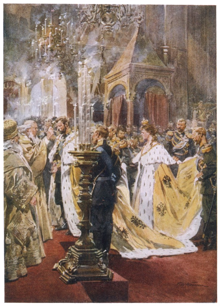 The eldest son of Alexander  III is crowned Tsar Nicolas II : Stock Photo