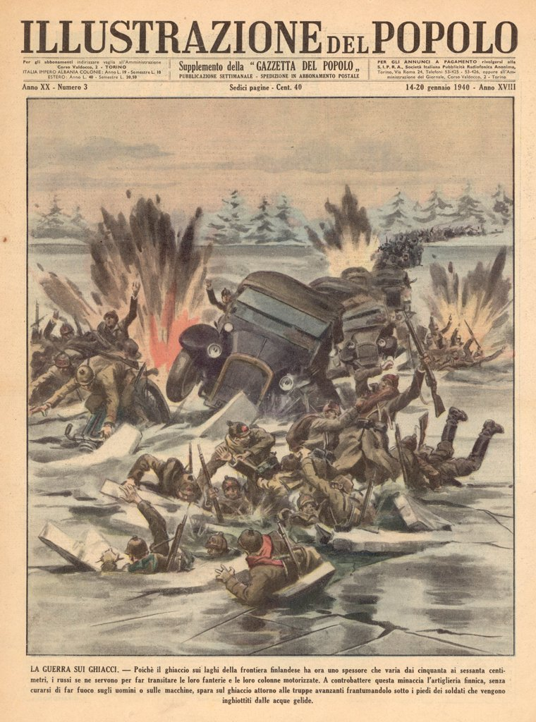 Stock Photo: 4220-1285 Finland : Russians attempting  to cross a frozen lake are  bombarded by the Finns