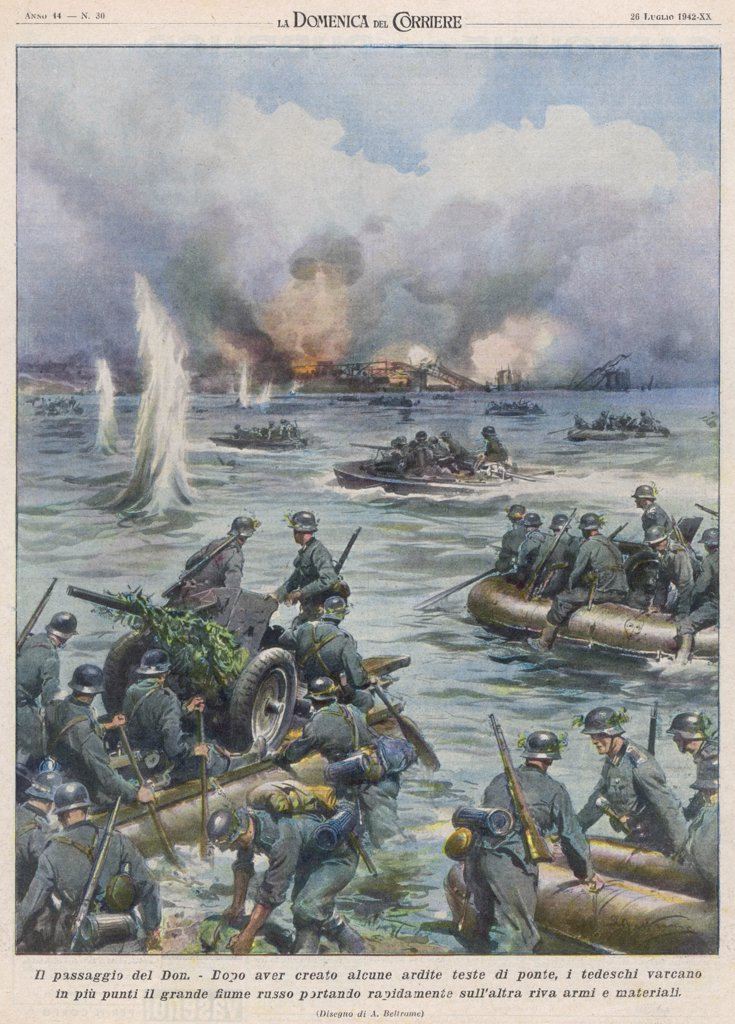 Stock Photo: 4220-1291 Germans infantry cross the  river Don on inflatable rafts.
