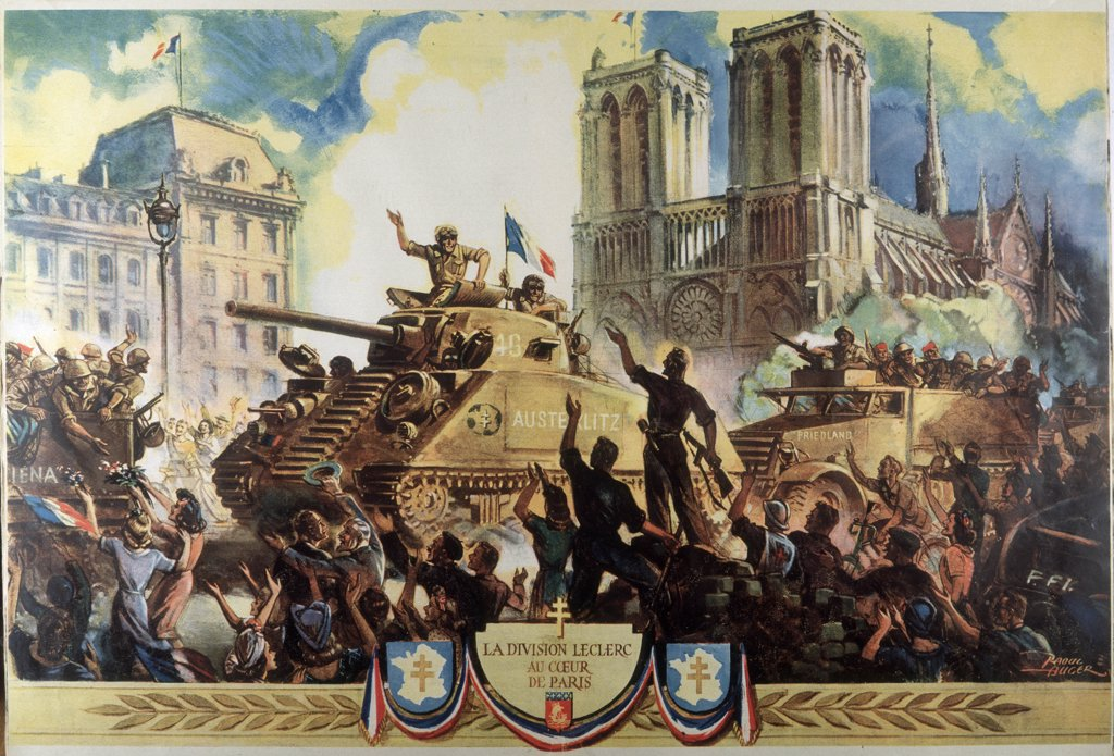 Stock Photo: 4220-1330 Paris liberated : the Free  French force commanded by  General Leclerc is the first  to enter Paris, greeted  enthusiastically after five  years of Nazi occupation