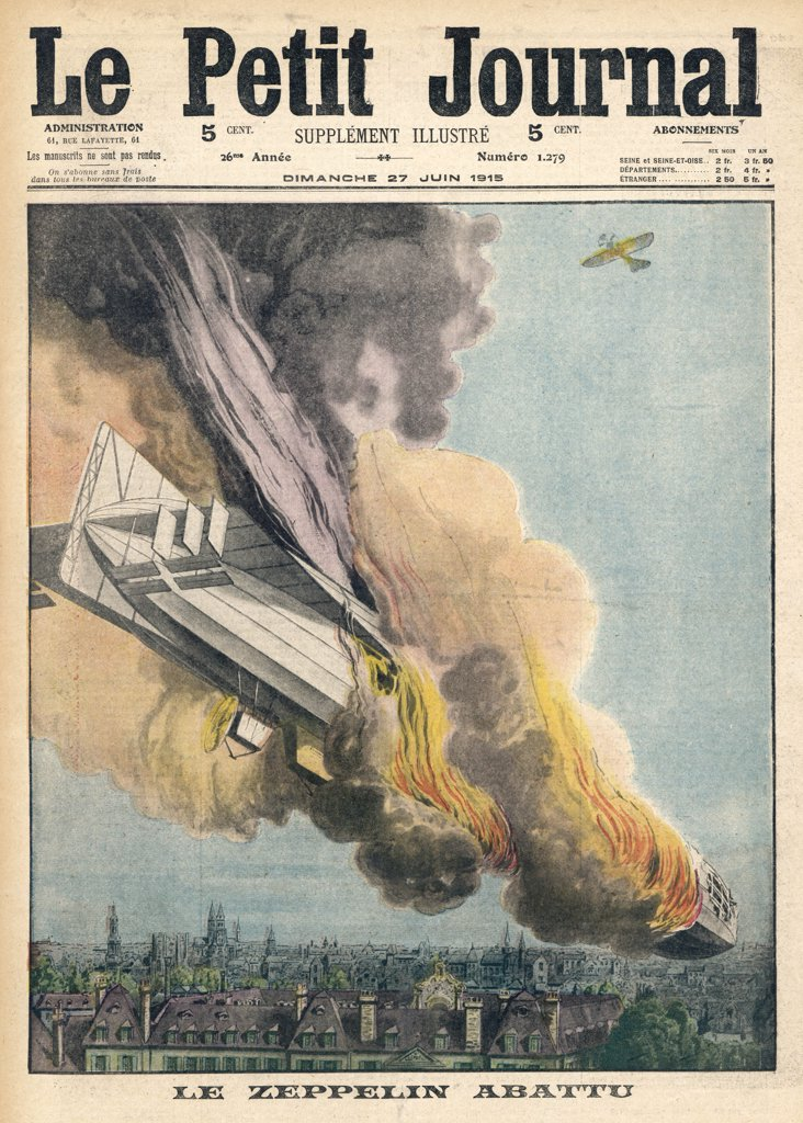 Lieutenant Warneford shoots  down the first Zeppelin of the  war over Ghent : Stock Photo