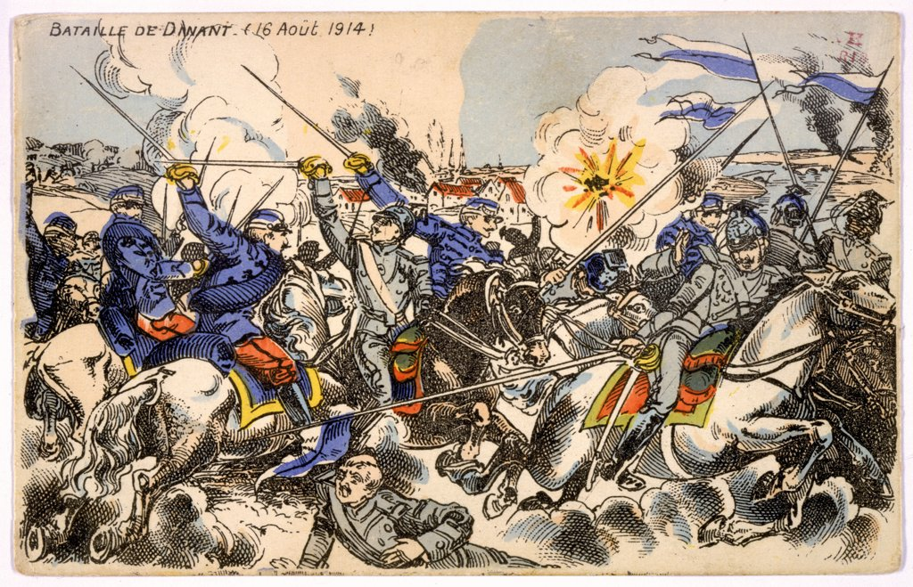 DINANT, Belgium French cavalry resist the  German invasion, but are  forced to retreat : the  fighting is followed by savage  reprisals on Belgian civilians : Stock Photo