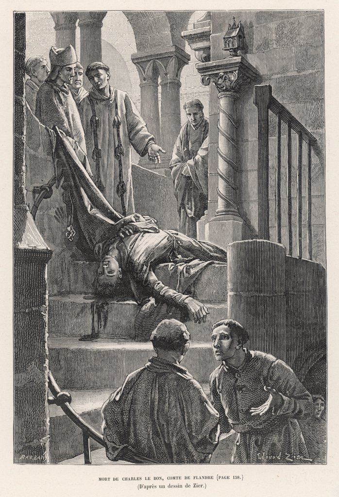 Charles (of Denmark) whose  mother has fled to Flanders,  becomes duc de Flandre, rules  wisely and benevolently but is  assassinated at Bruges by  discontented townsfolk. : Stock Photo