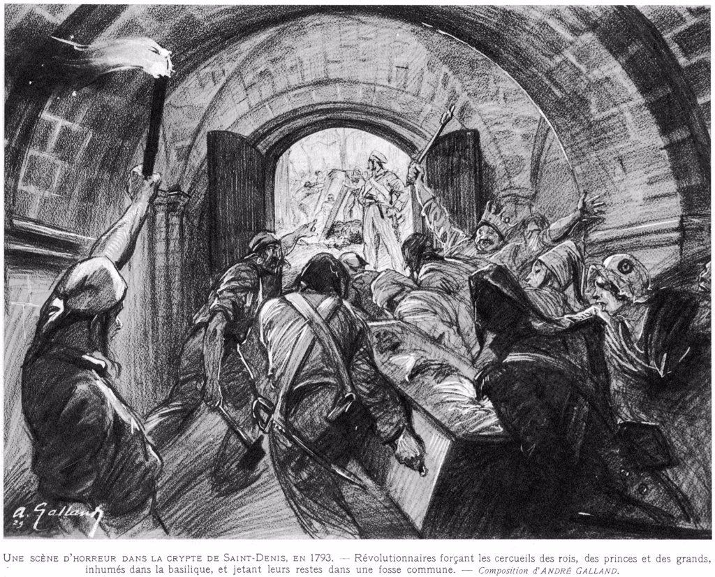 Hatred of the ancien regime is  carried to extremes when  vandals break into the crypt  at Saint-Denis, take the royal  corpses from their coffins and  throw them in a common ditch. : Stock Photo