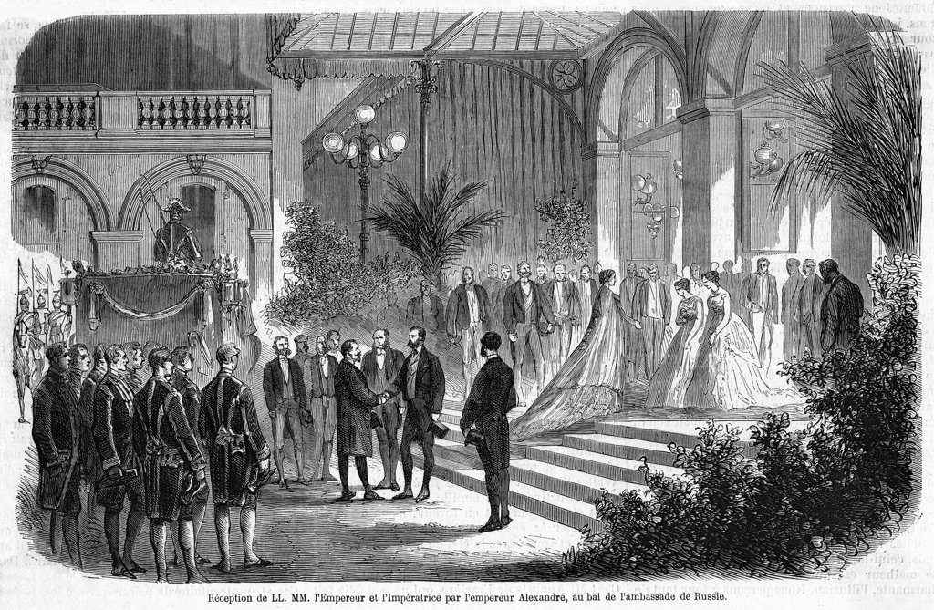 Alexander II, tsar of Russia,  visits France and welcomes  Napoleon and Eugenie to a ball  at the Russian embassy. : Stock Photo