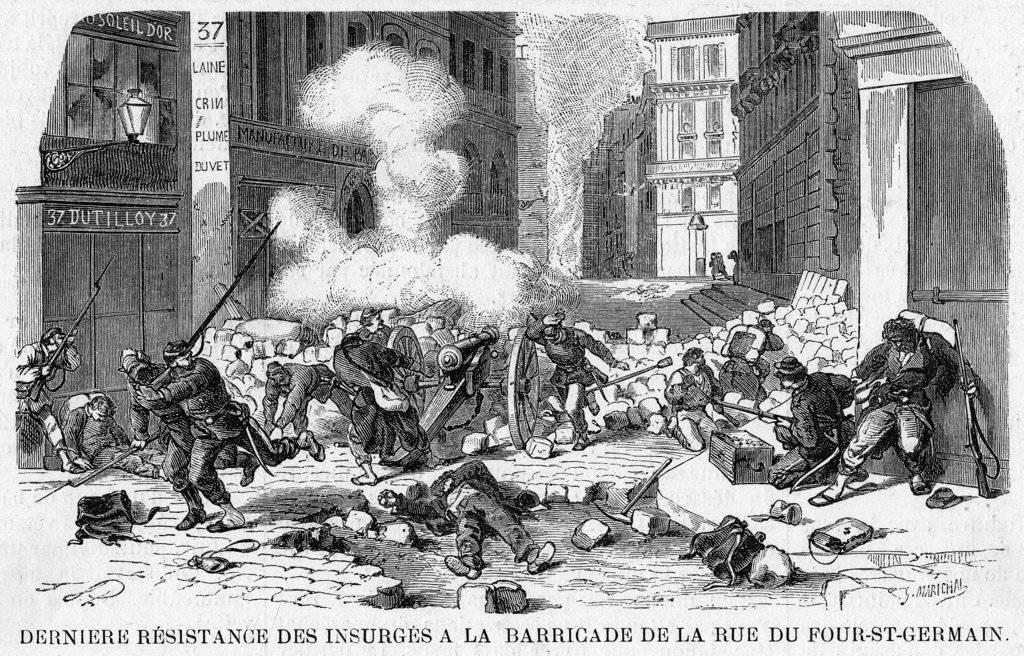 Stock Photo: 4220-1971 The final stand of the  Communards - defending the  last barricade against the  government forces in the rue  du Four-St-Germain.