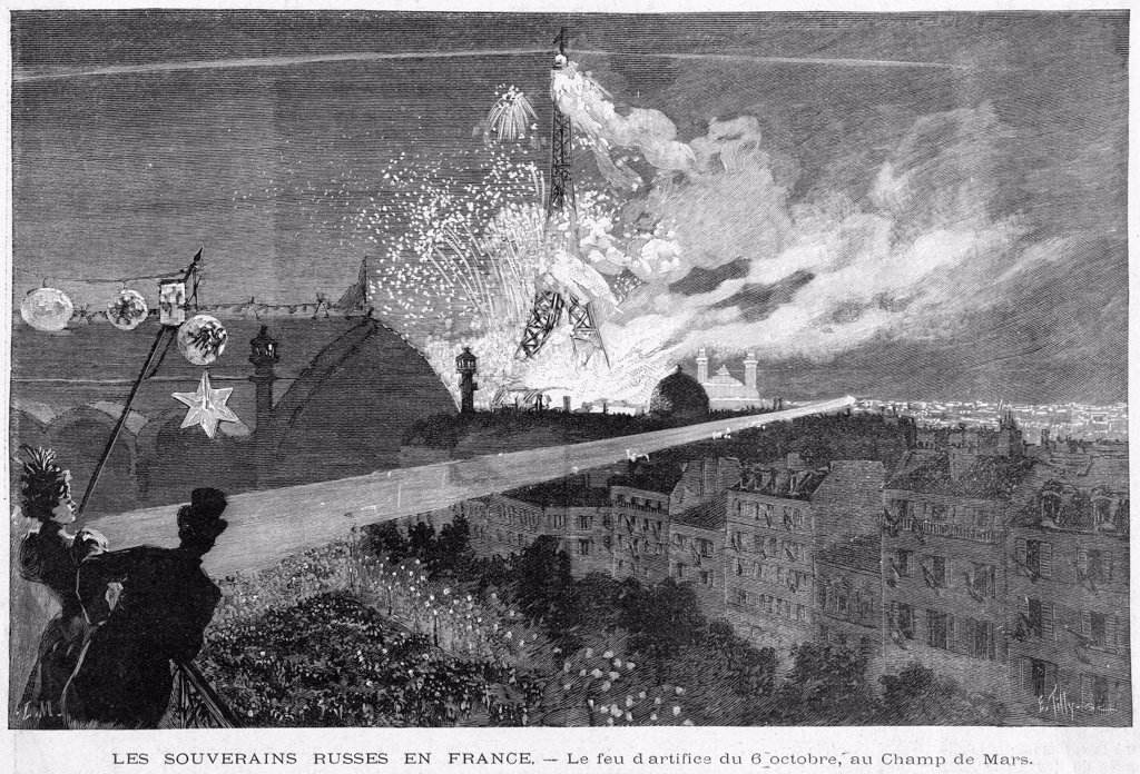 Stock Photo: 4220-2012 When tsar Nikolai II visits  France, he is entertained with  a firework display - a  pleasant change from nihilist  bombs and assassination  attempts.