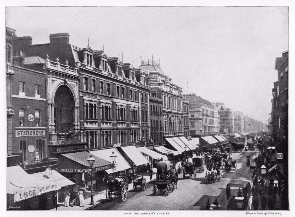near the Prince's Theatre, east of Oxford Circus Date: 1896 : Stock Photo