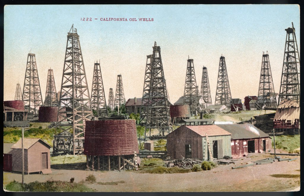 Stock Photo: 4220-2061 A landscape of wells in theCalifornia oil field Date: early 20th century