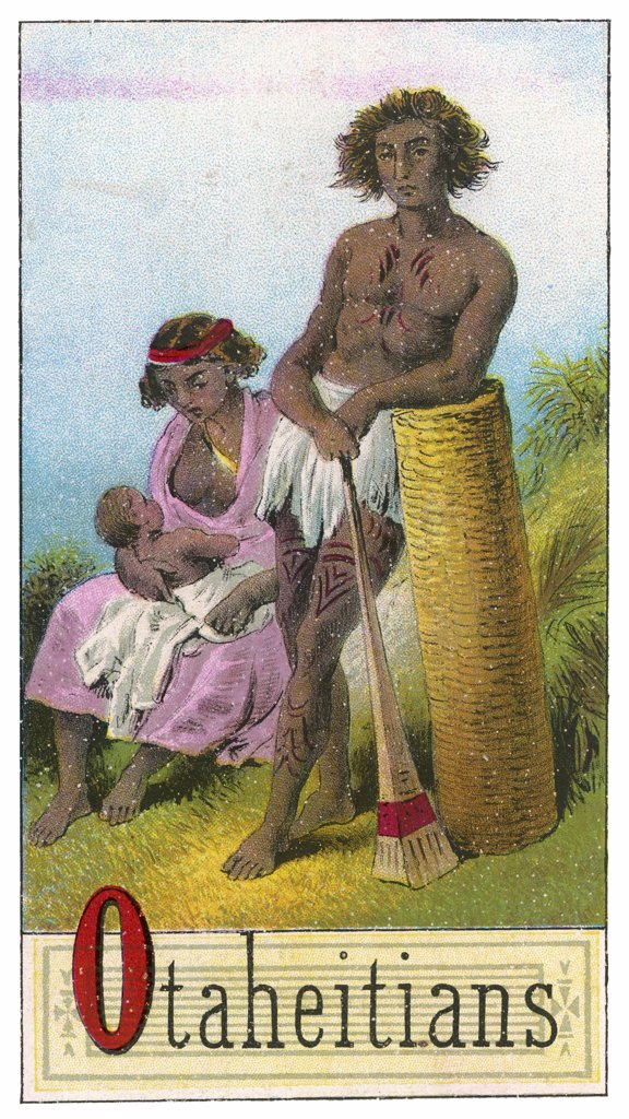 Stock Photo: 4220-2210 A Tahitian couple with their child.Date: 1886