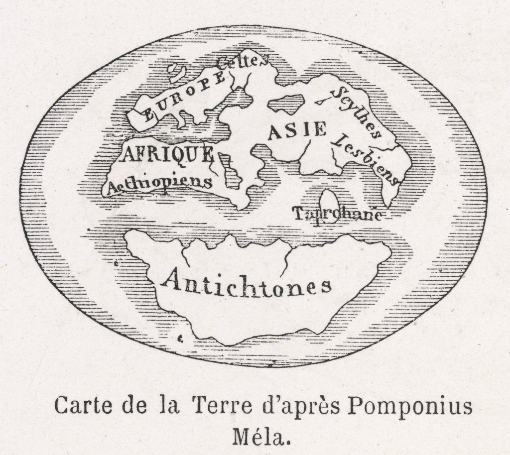Stock Photo: 4220-2222 World Map as known to Pomponius Mela, Roman geographerDate: circa 50