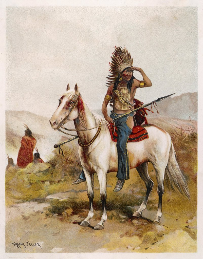Sioux chief on his horseDate: circa 1880 : Stock Photo