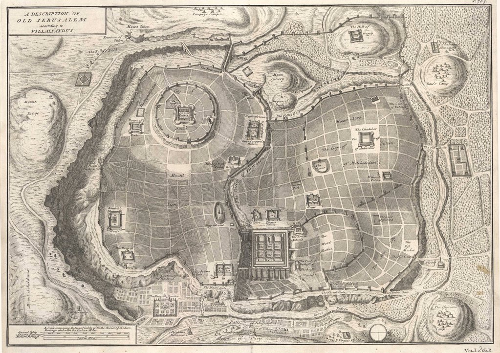 Stock Photo: 4220-2509 Plan of the city in biblicaltimes : the City of Davidupper left, Solomon's Templelower centre, the site ofJesus's crucifixion uppercentre Date: 1st century AD
