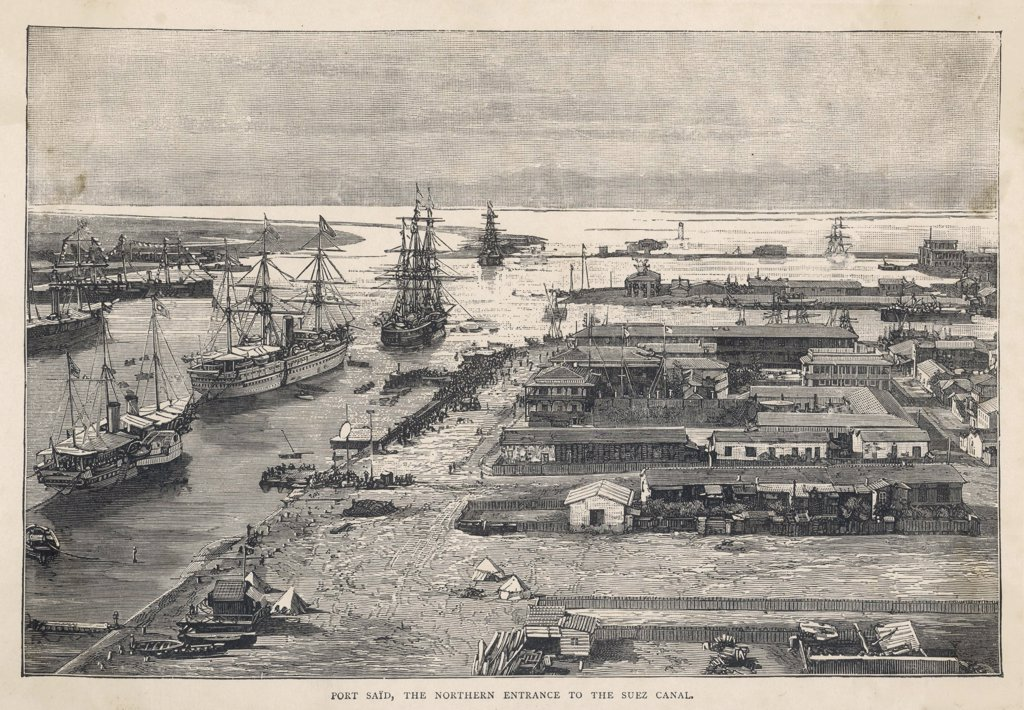 Stock Photo: 4220-2555 Ships load and unload at docks in Port Said, at theNorthern entrance to theSuez Canal. Date: circa 1880