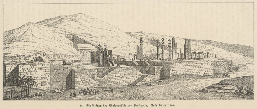 The citadel of Persepolis isone of the best preserved ofall the ancient Near Easternarchaeological sites, and oneof the first to be recognisedby European visitors. Date: 1902 : Stock Photo