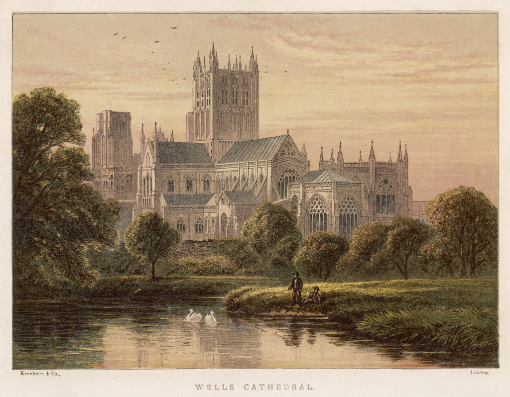 Wells Cathedral, SomersetDate: 1871 : Stock Photo