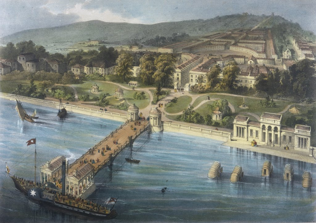 Stock Photo: 4220-2747 Gravesend, Kent:proposed development at Milton-on-Thames at the Royal Terrace Pier and Gardens Date: circa 1840?