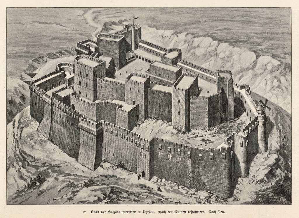 Krak des Chevaliers,the Crusaders' Castle,as it looked in the 12th centuryDate: circa 1125 : Stock Photo