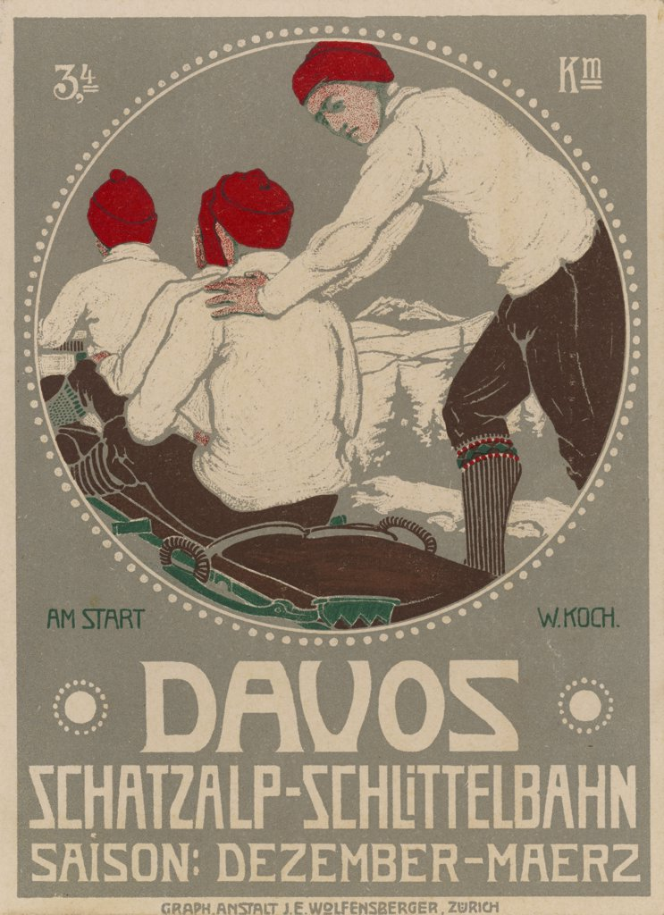 Stock Photo: 4220-2946 A brochure design for theKaiser Wilhelm II toboggancontest at Davos, Switzerland.Date: 1910
