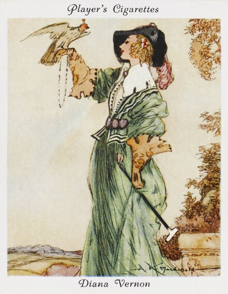 Diana Vernon, heroine of Rob  Roy, hawking.        Date: First published: 1818 : Stock Photo