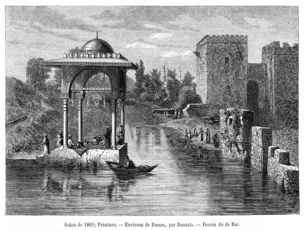 Scene on the riverDate: 1861 : Stock Photo