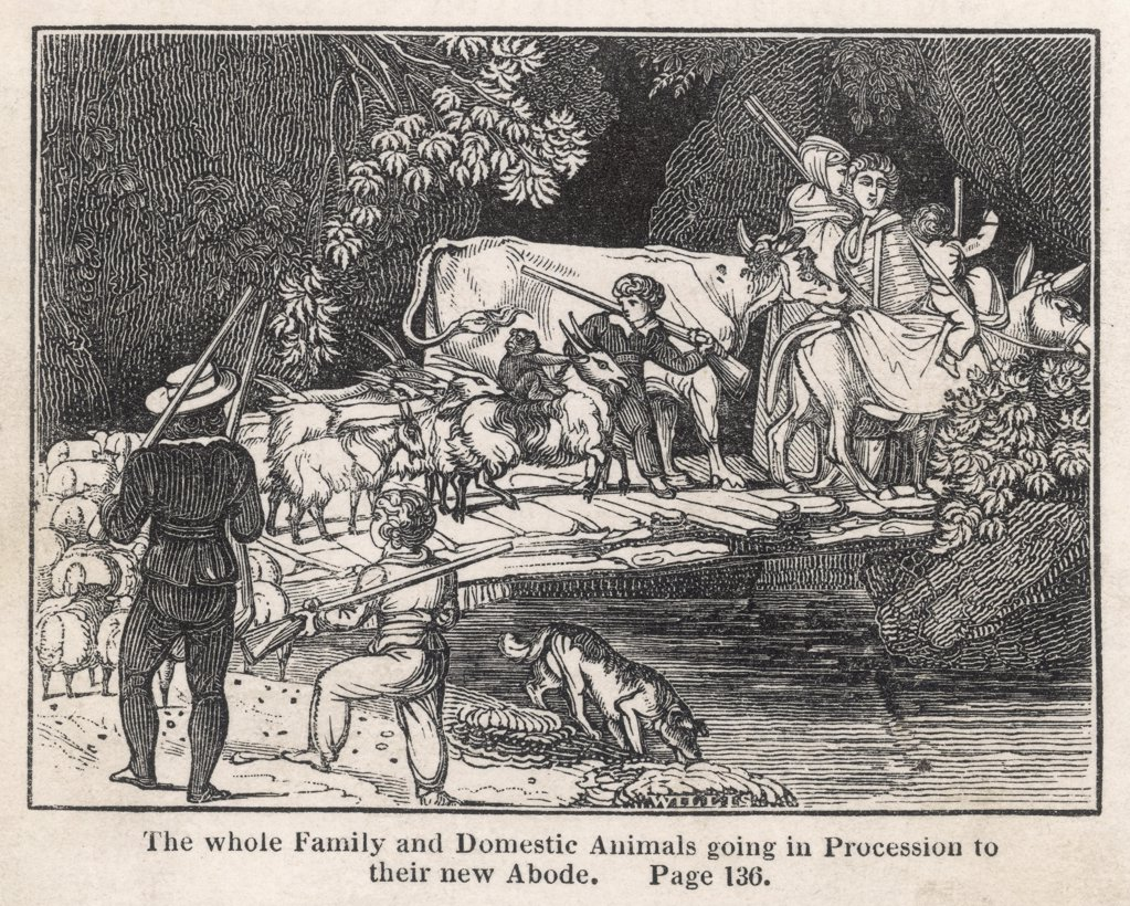 Stock Photo: 4220-335 DIE SCHWEIZERISCHE ROBINSON  The whole family and domestic  animals going in procession to  their new abode.       Date: First published 1812
