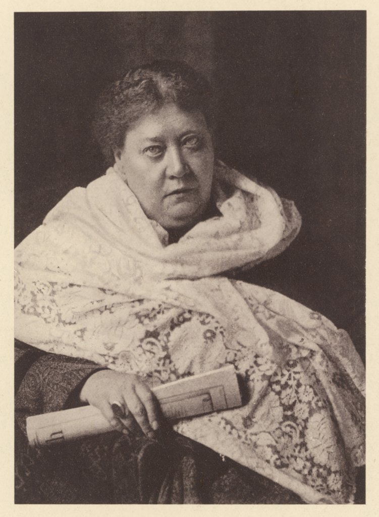 HELENA PETROVNA BLAVATSKY Russian mystic, writer &c  (wearing shawl, holding  rolled magazine)      Date: 1831 - 1891 : Stock Photo