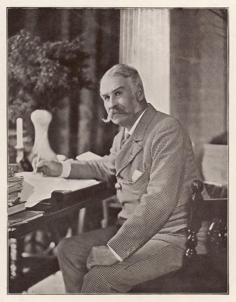 WILLIAM SCHWENCK GILBERT  English playwright and collaborator with Sullivan,  writing at his desk      Date: 1836 - 1911 : Stock Photo