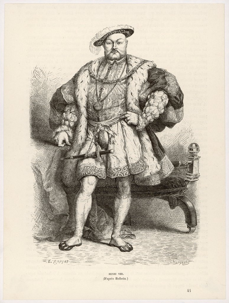 Stock Photo: 4220-4182 KING HENRY VIII (1491 - 1547) Reigned 1509 - 1547  Full length engraving