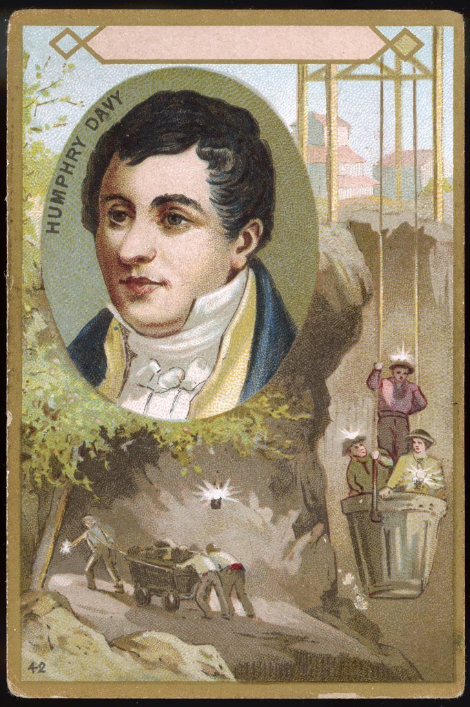Stock Photo: 4220-4224 SIR HUMPHRY DAVY  chemist,  inventor of the miner's safety  lamp (1815) depicted here