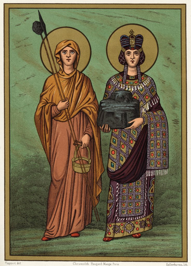 FLAVIA JULIA HELENA Empress and saint, carrying a portion of the  cross on which Jesus was  crucified, which she was  fortunate enough to discover : Stock Photo