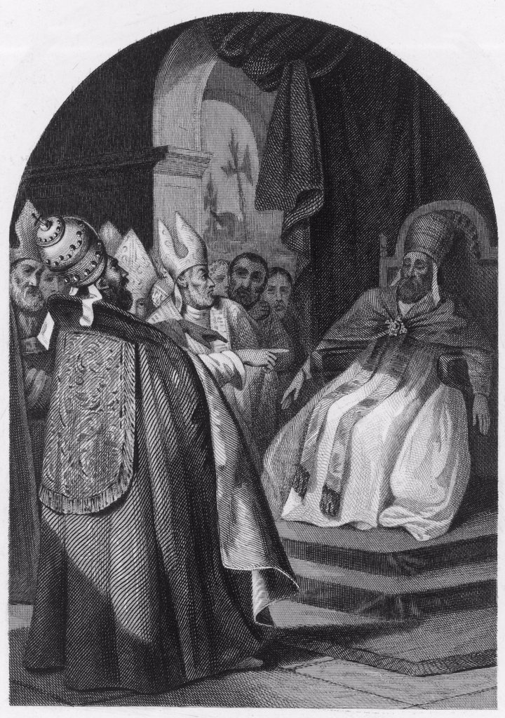 POPE STEPHANUS VI (sometimes listed as Stephanus VII) depicted  interrogating his predecessor  Formosus, whose corpse he had  exhumed ; he was strangled : Stock Photo