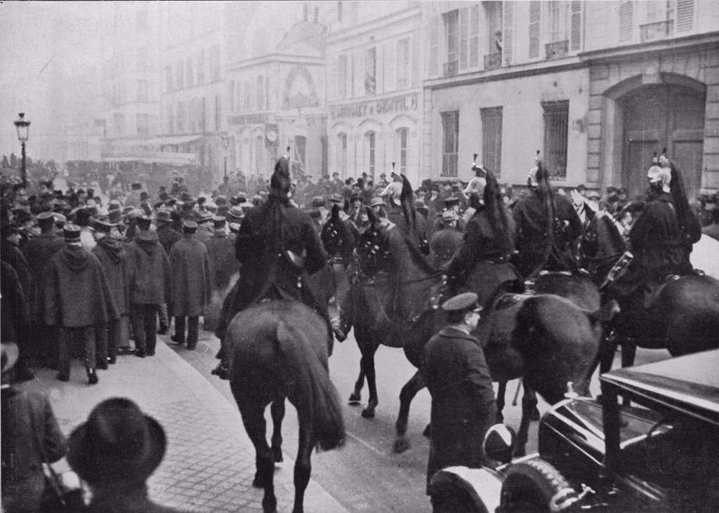 Stock Photo: 4220-450 Cavalry are called in when  anti-government rioting in  Paris leads to an attack on  the palais Bourbon.       Date: 1933