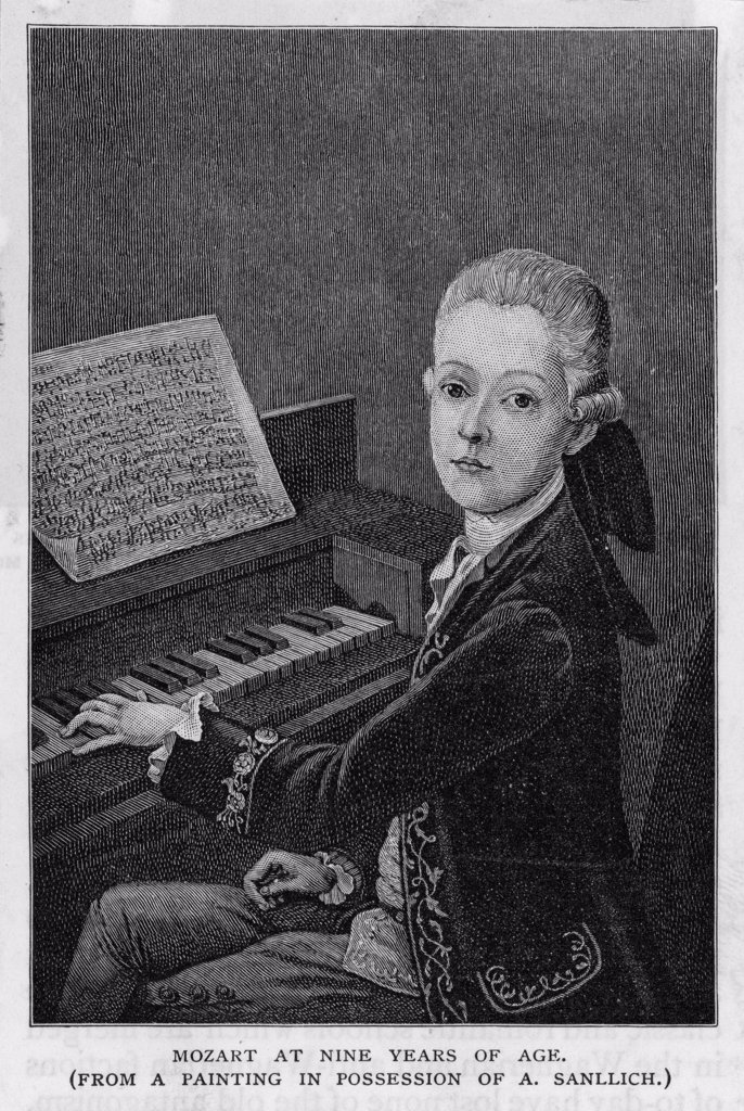 WOLFGANG AMADEUS MOZART  the Austrian composer at the  age of eleven, seen at the  keyboard : Stock Photo