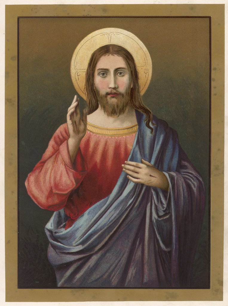 Stock Photo: 4220-4505 JESUS OF NAZARETH  with his right hand raised  in a blessing gesture