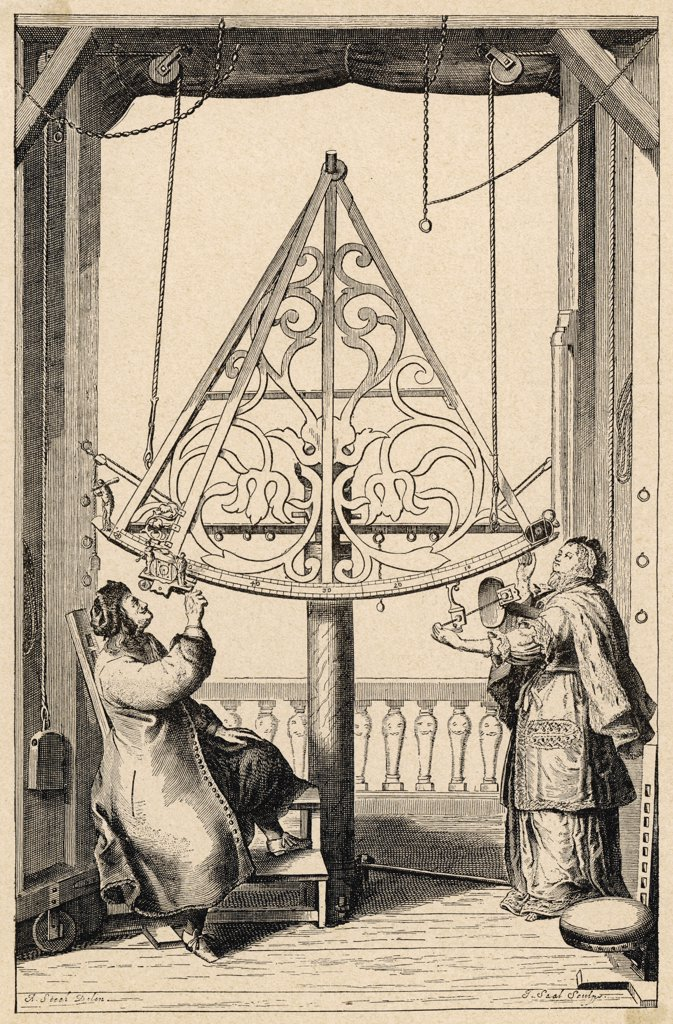 JOHANNES HEVEL Known as HEVELIUS  German-Polish astronomer, and  his wife observe the stars : Stock Photo