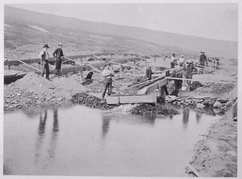 Sluicing on Number Two Claim, at Anvil Creek, Nome, Alaska,  during the gold rush : Stock Photo
