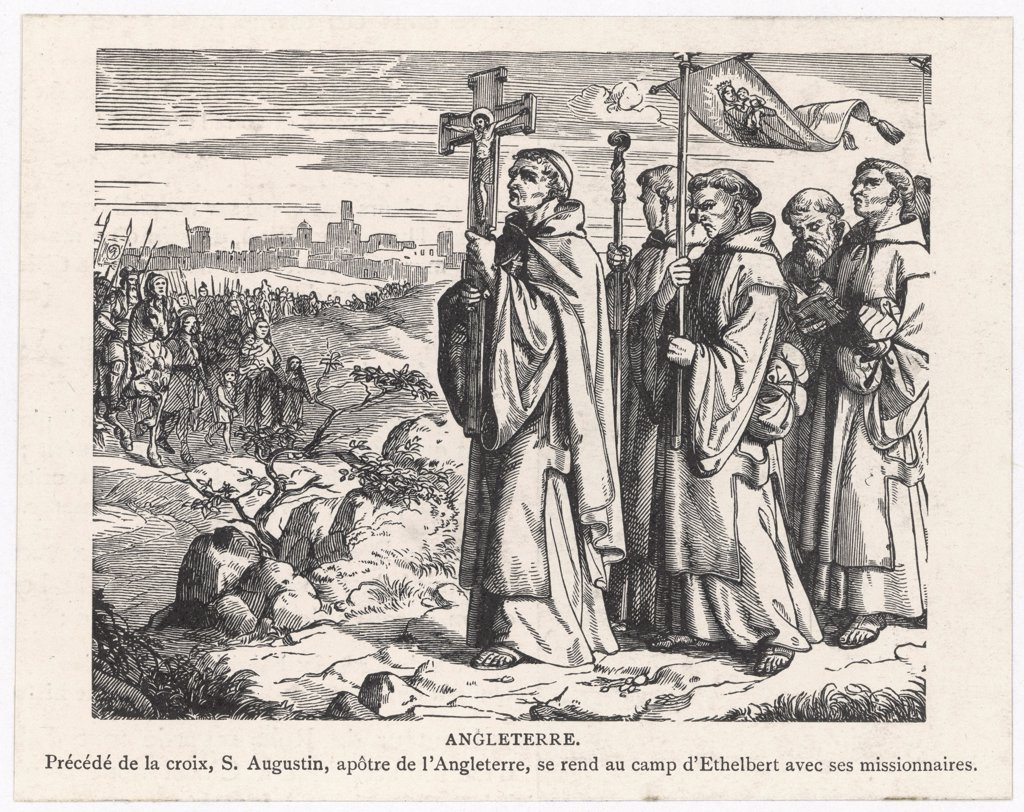 Stock Photo: 4220-523 St Augustine and his companions bring Christianity to Britain  -- their procession approaches the camp of King Ethelbert.