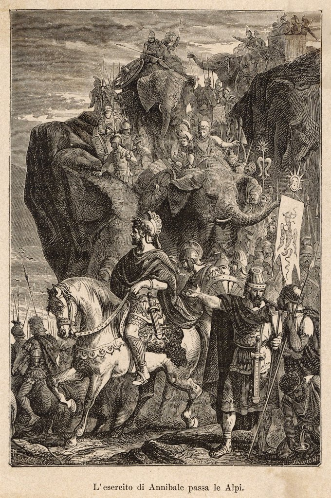 SECOND PUNIC WAR : Hannibal, the Carthaginian leader, descending into Italy : Stock Photo