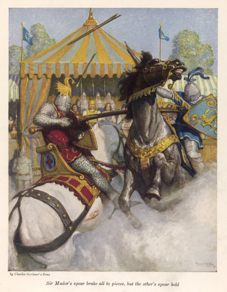 Lancelot defeats Sir Mador de  la Porte in the battle to  uphold the honour of Guinevere : Stock Photo