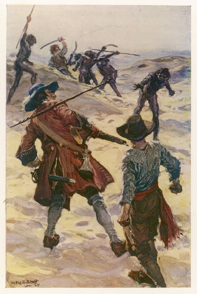 Stock Photo: 4220-651 WILLIAM DAMPIER and one of his crew are attacked by natives,  and he is compelled to shoot  one of them
