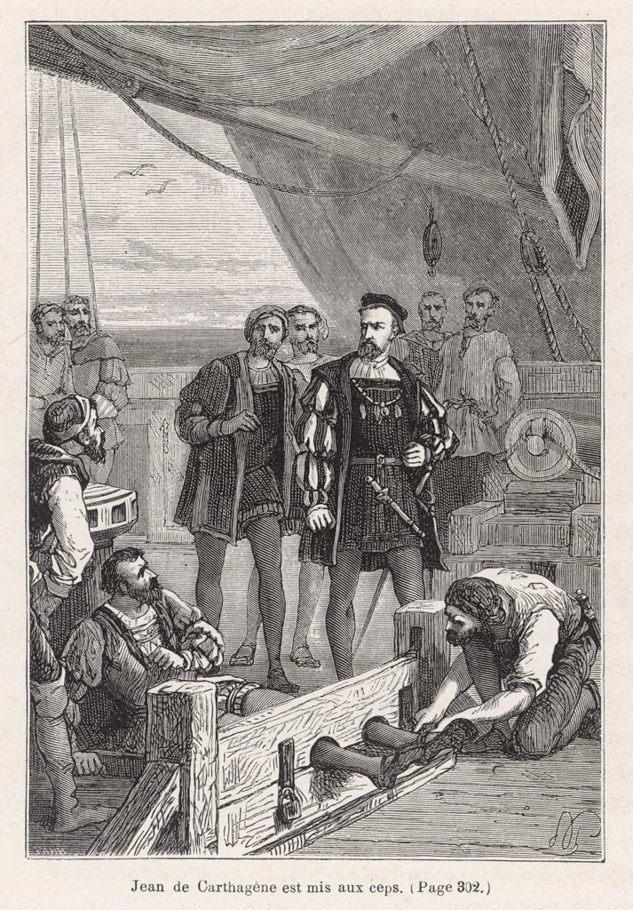 Stock Photo: 4220-658 When Juan de Cartagena  questions the authority of  Fernao de Magalhaes he is put  in the stocks, but is released  when other captains protest