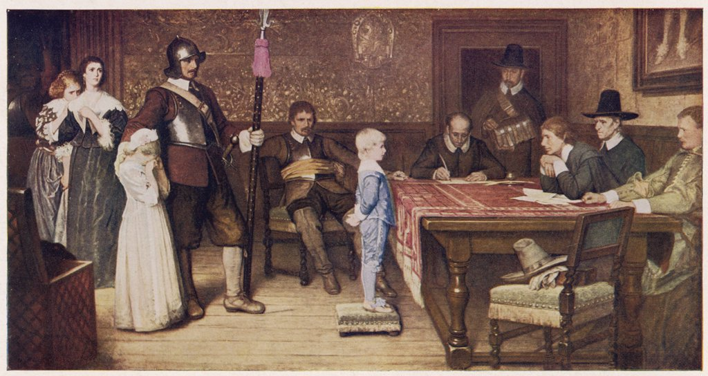 WHEN DID YOU LAST SEE YOUR  FATHER.  Parliamentary supporters  interrogate the child of a  Royalist. : Stock Photo