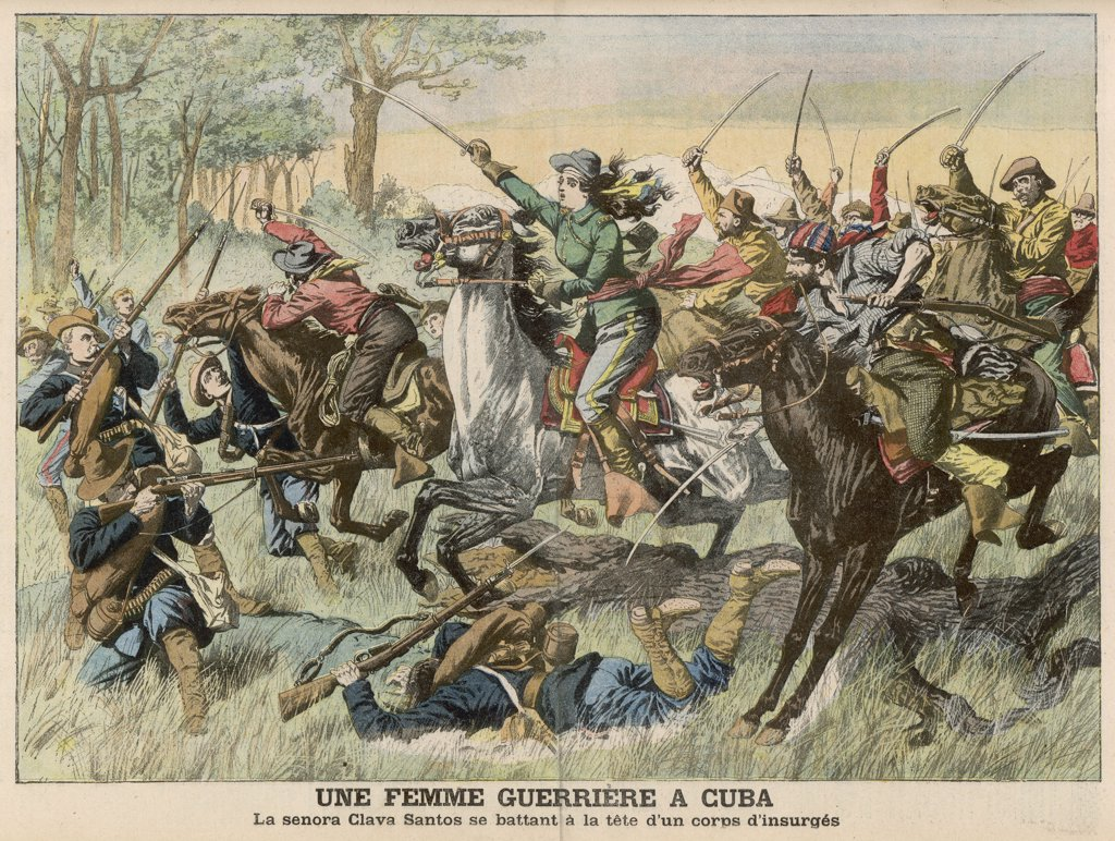 Insurrection in Cuba : Senora Clara Santos heroically  leads a charge of rebel  cavalry : Stock Photo
