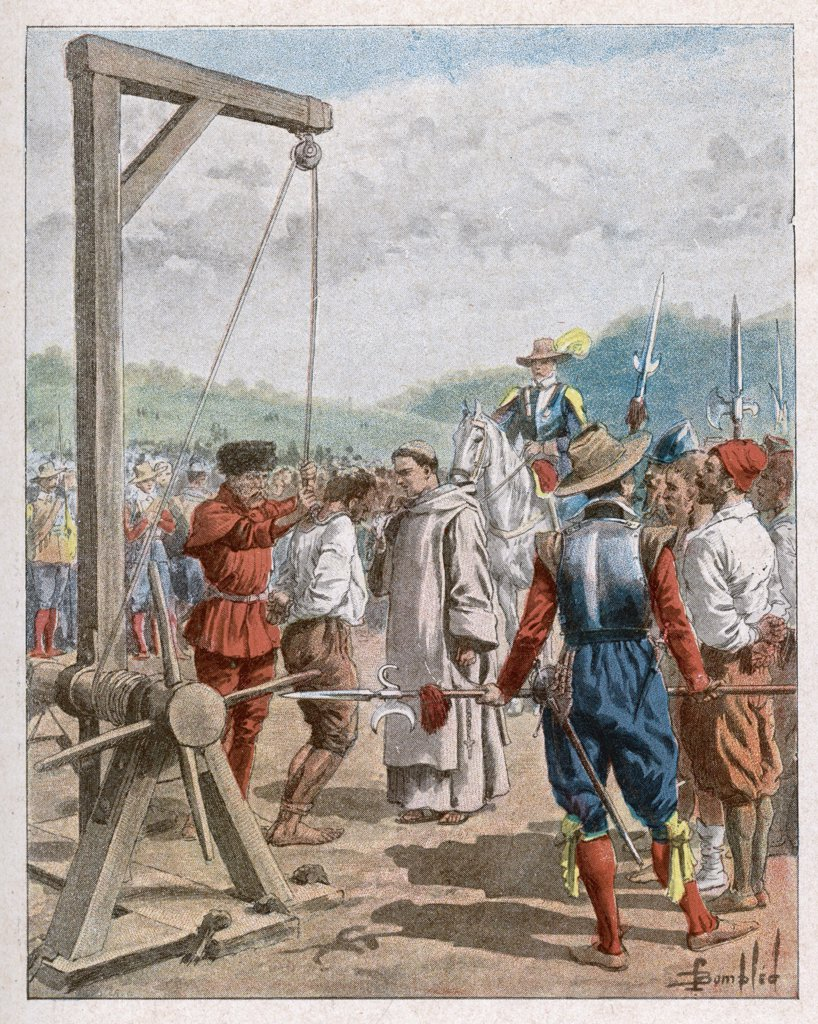 Samuel de Champlain hangs the  ring-leaders of a conspiracy  of dissatisfied colonists, who  had planned to murder him and  pillage the stores : Stock Photo