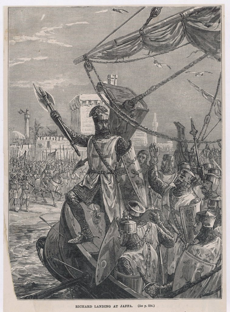 THIRD CRUSADE - Richard I, after taking Acre,  advances to Jaffa where he  defeats Saladin and takes the  city : Stock Photo