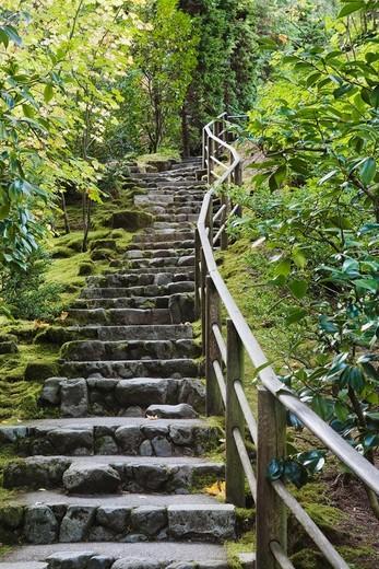 Stone Stairway, Japanese Garden, Portland, Oregon, USA : Stock Photo