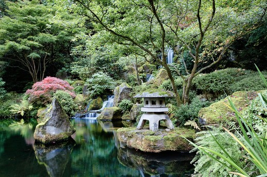 Reflection Pond. Japanese Garden, Portland, Oregon, USA. : Stock Photo