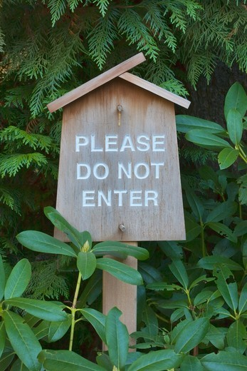Do Not Enter Sign.  Portland, Oregon, Japanese Garden.  USA : Stock Photo