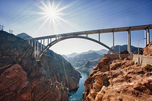 Mike O'Callaghan Pat Tillman Memorial Bridge, Nevada, USA : Stock Photo